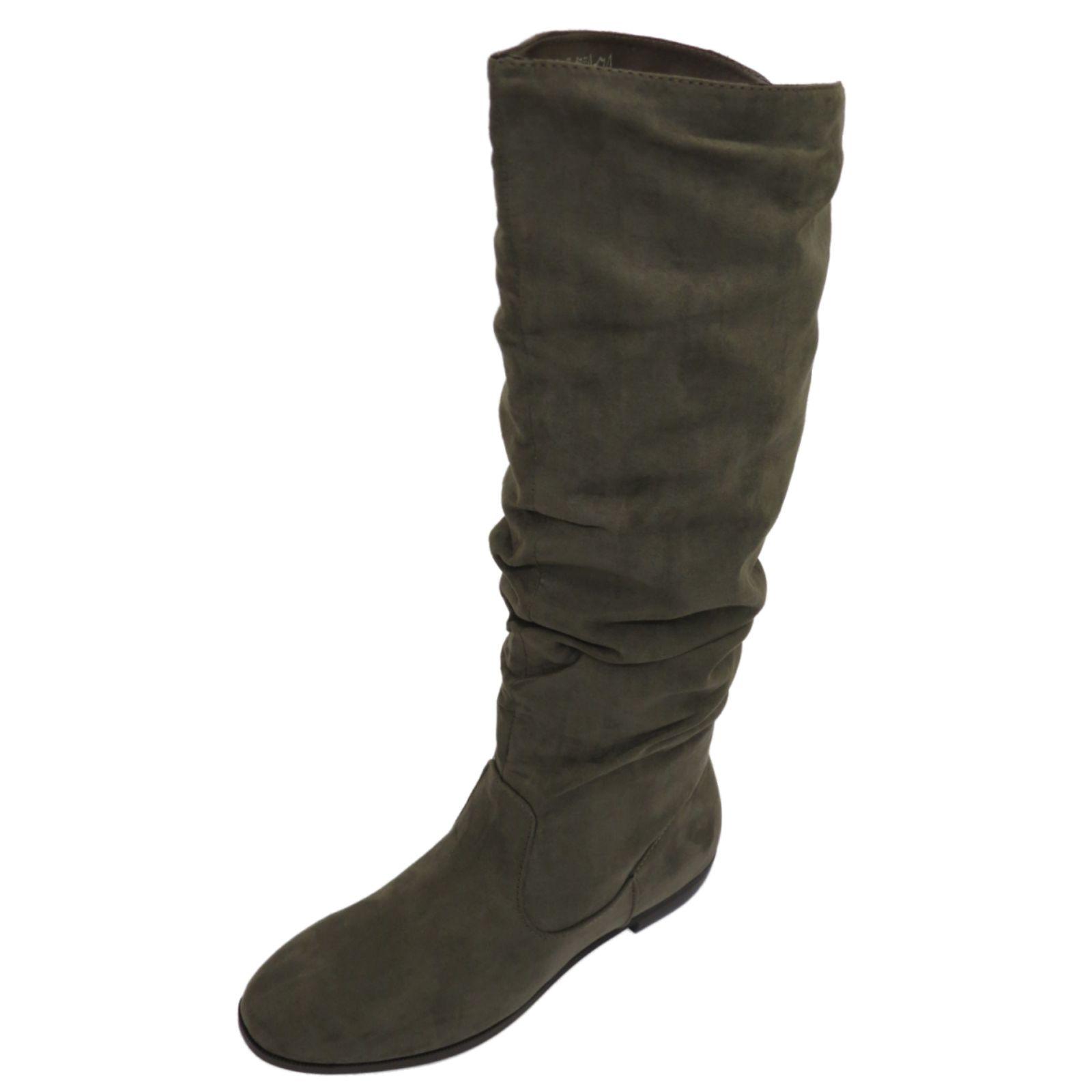 Damen flach grau Zug Pixie Biker Lässig gerüscht hoch Knie Wade Stiefel Schuhe