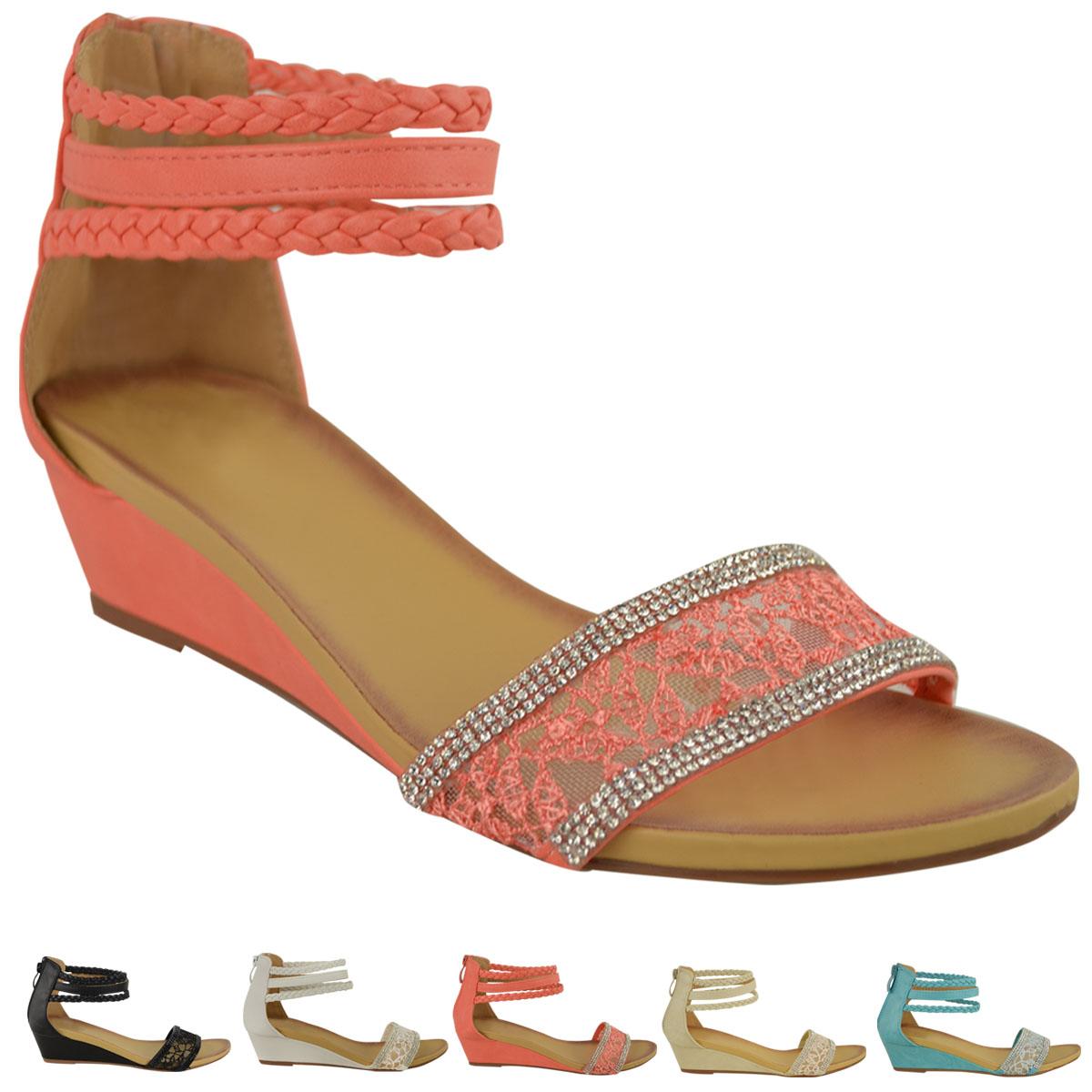 damen sommer sandalen niedrige abs tze keilabsatz kn chel riemchen spitze strass ebay. Black Bedroom Furniture Sets. Home Design Ideas
