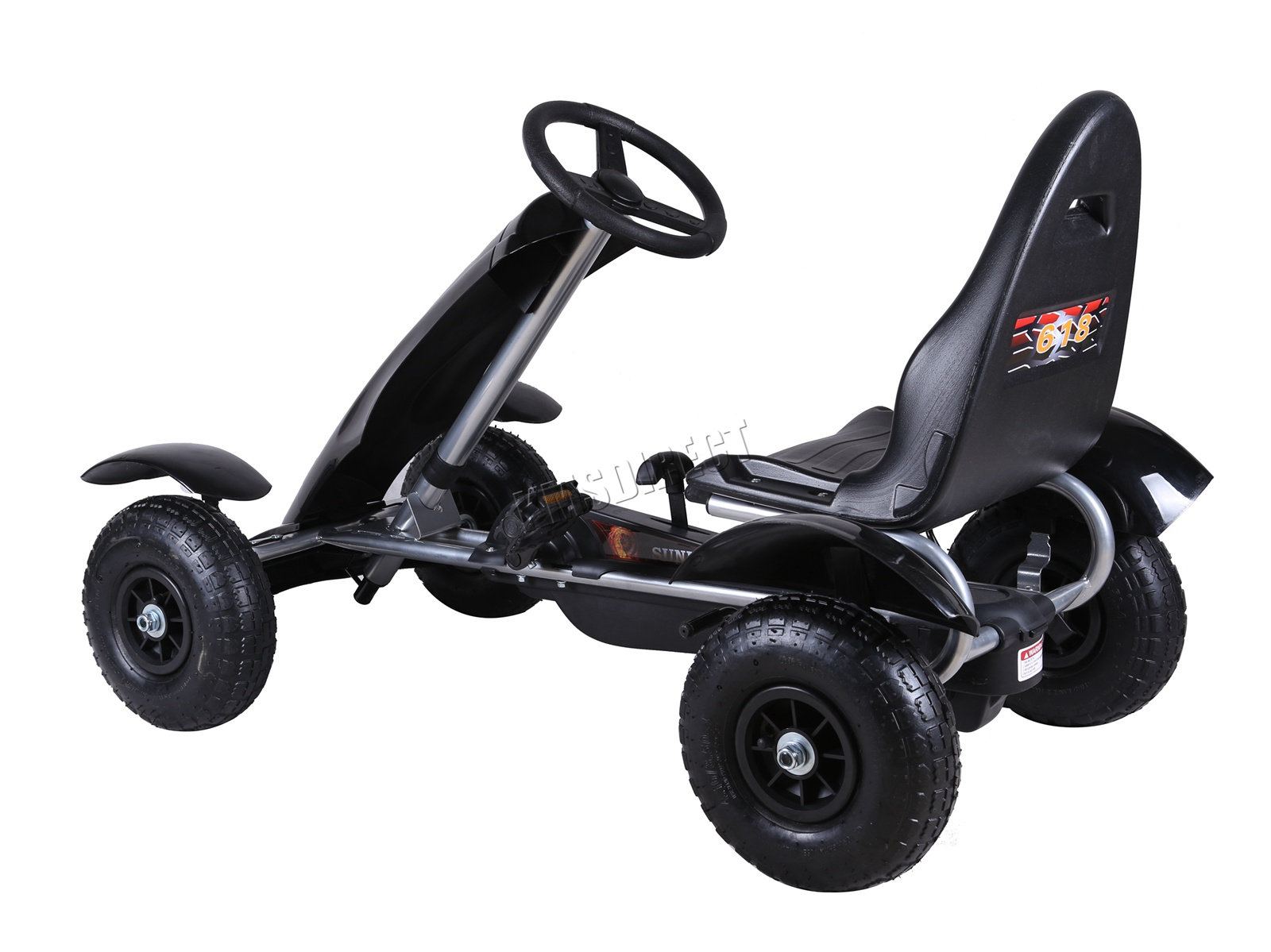 201701719267 2475 I 305 25 GOKART FH G03 BLACK KMSWM088 - Foxhunter Infantil Go Kart – Pedal Coche para Niños Gocart con Freno de Mano G03