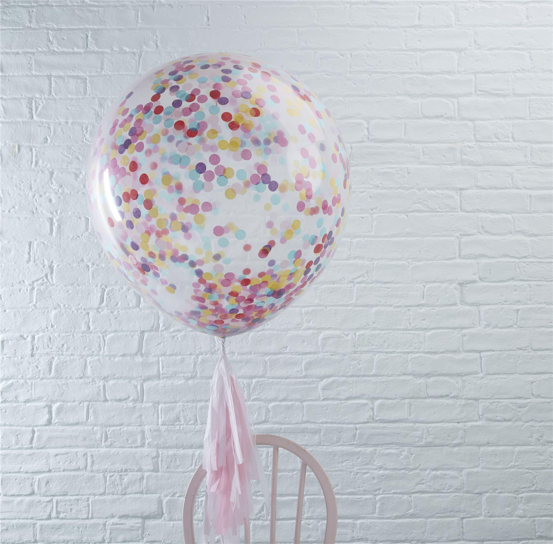 Extra-Grande-12-034-36-034-Confeti-Multicolor-Fiesta-Boda-Globos-De-Latex-Helio