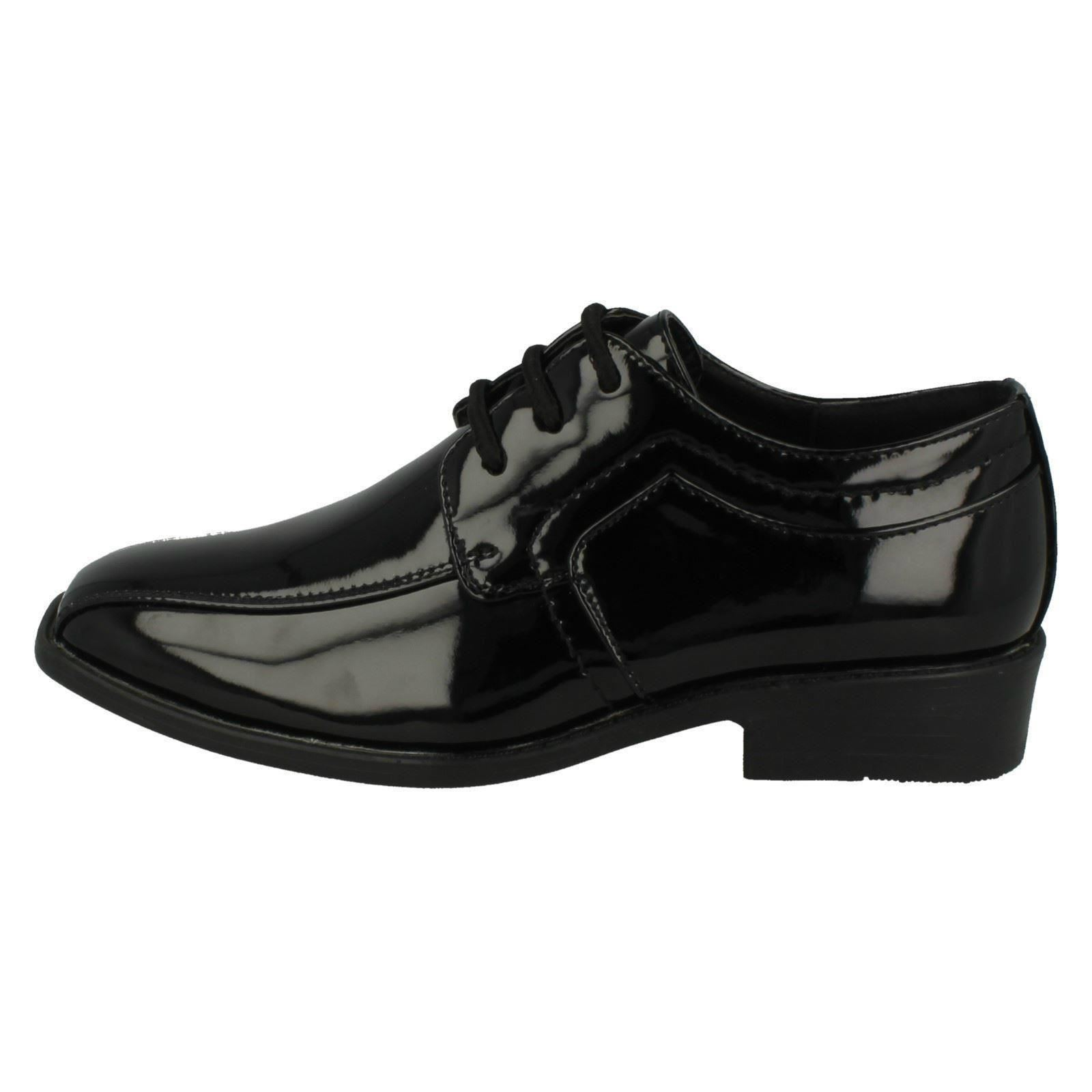 dfe150c773a1 Boys JCDees Trendy Lace up Formal Shoes N1109 Black Patent Junior 2 UK  Standard for sale online