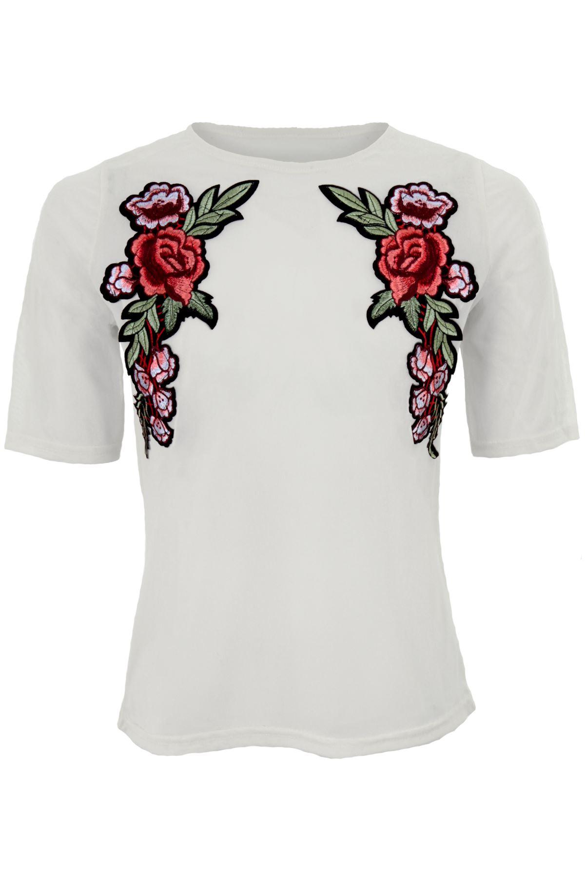 T shirt printing at white rose - Ladies Short Sleeve See Through Mesh Floral Rose