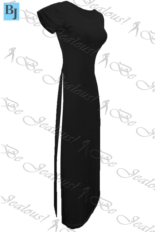 damen seitenschlitz top fl gel rmel doppel hohe taille schlitz lang maxi kleid ebay. Black Bedroom Furniture Sets. Home Design Ideas