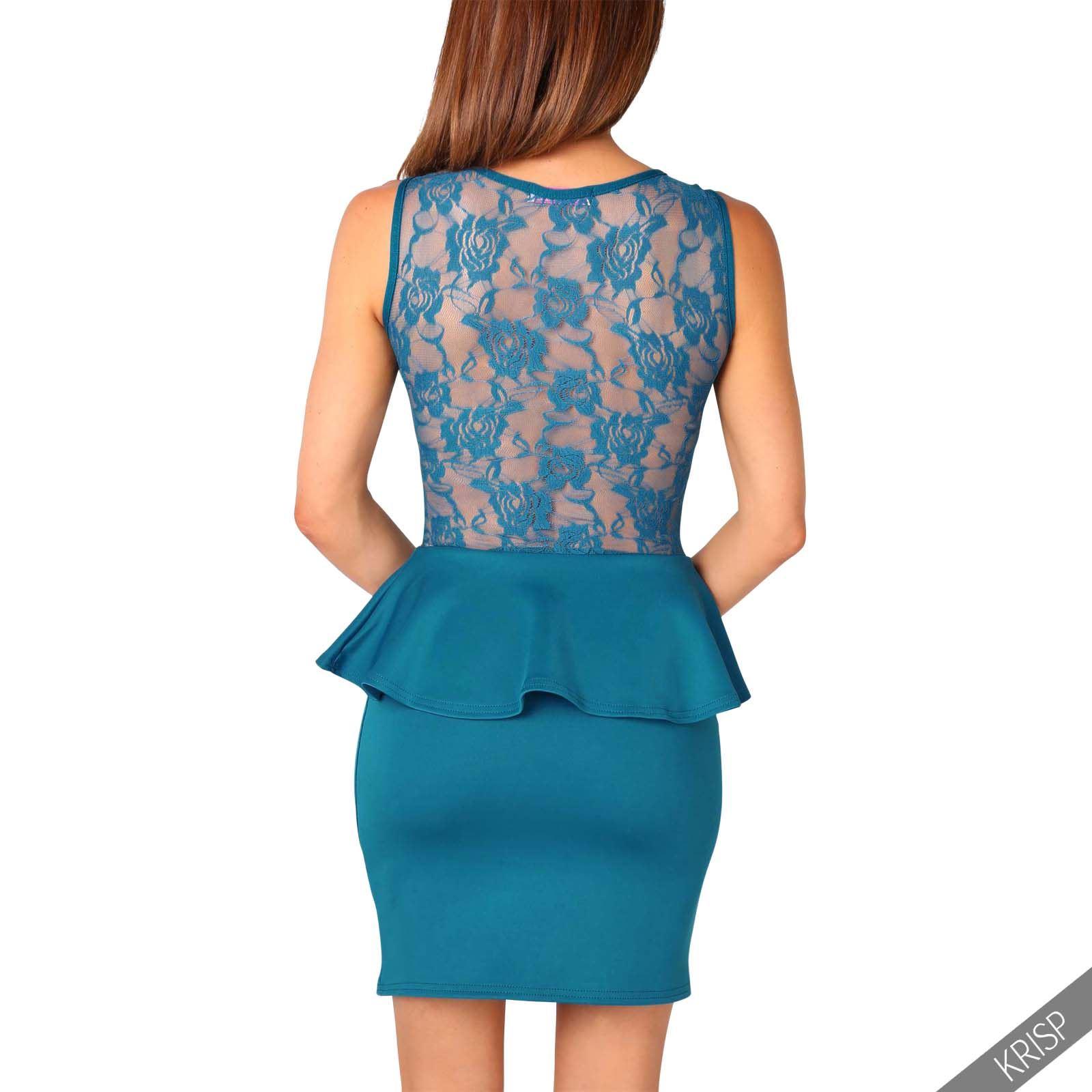 Krisp-Mujer-Vestido-Ajustado-Elastico-Peplo-de-tubo-Encaje-Volante-Mini-Oficina