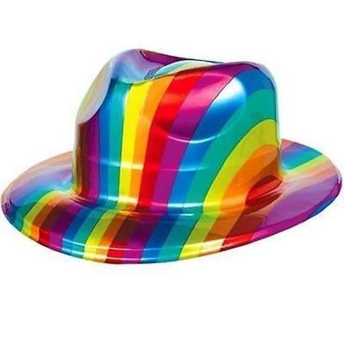 Gay-Pride-Arcobaleno-Plastica-Cappello-Fedora-Lgbt-Festival-Parata-Costume