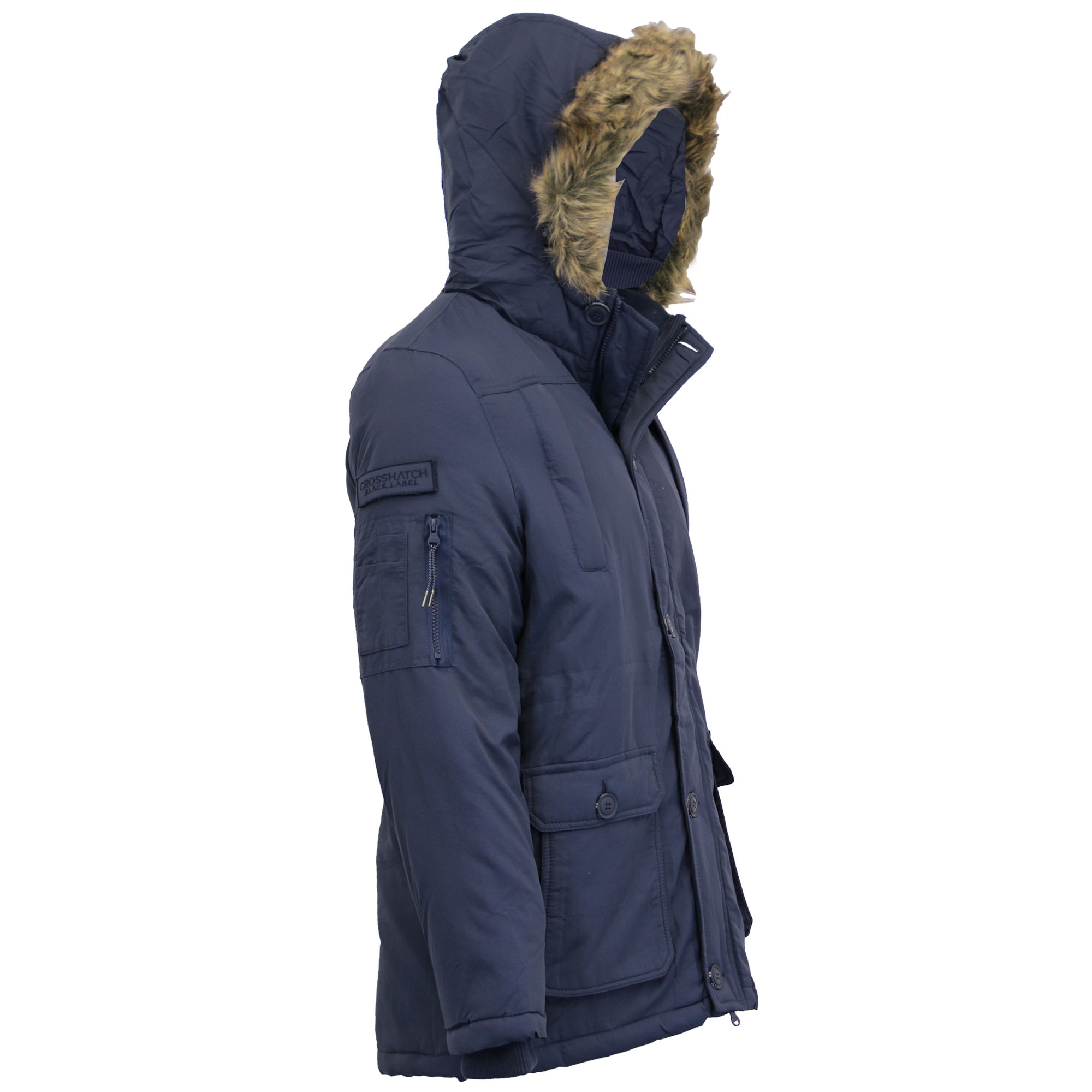 New Mens Parka Jacket Crosshatch Coat Hoodie Padded Faux Fur Zip Winter Lined
