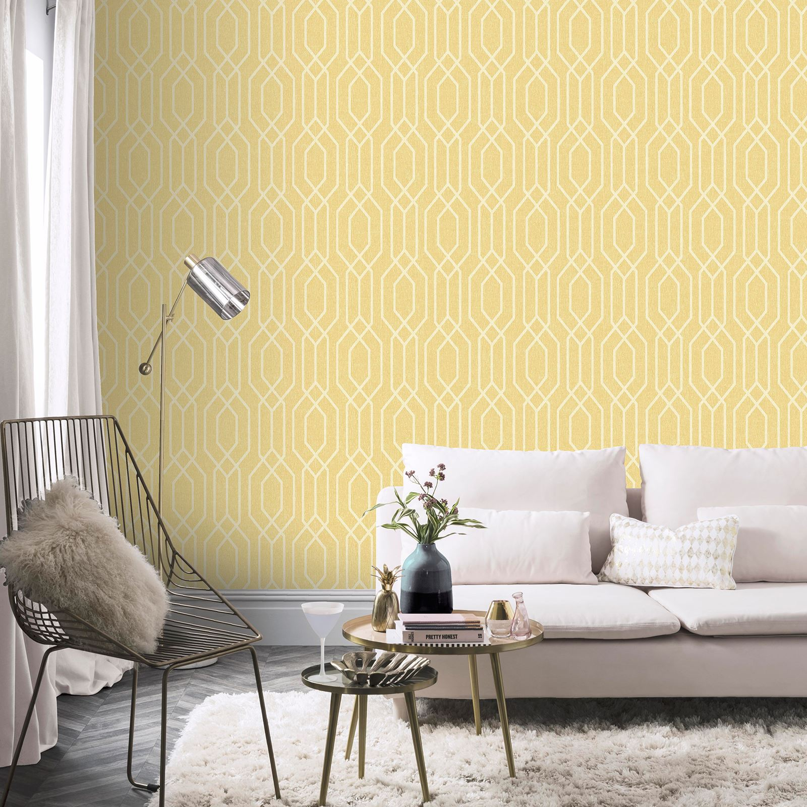 ARTHOUSE NEW YORK GEOMETRIC TRELLIS WALLPAPER - TEAL GREY YELLOW ...