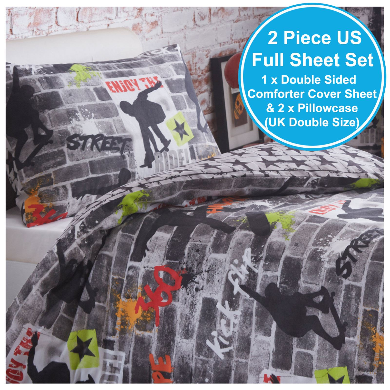 Indexbild 149 - Teenager Bettwäsche Sets - Einzel / Doppelbett Bettwäsche Jungen Musik Graffiti