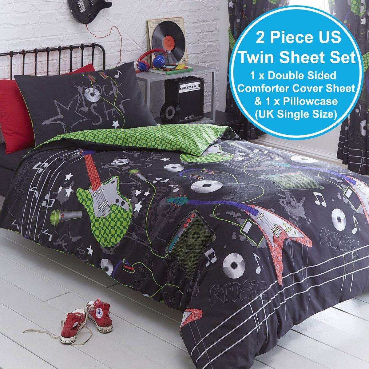 Indexbild 103 - Teenager Bettwäsche Sets - Einzel / Doppelbett Bettwäsche Jungen Musik Graffiti