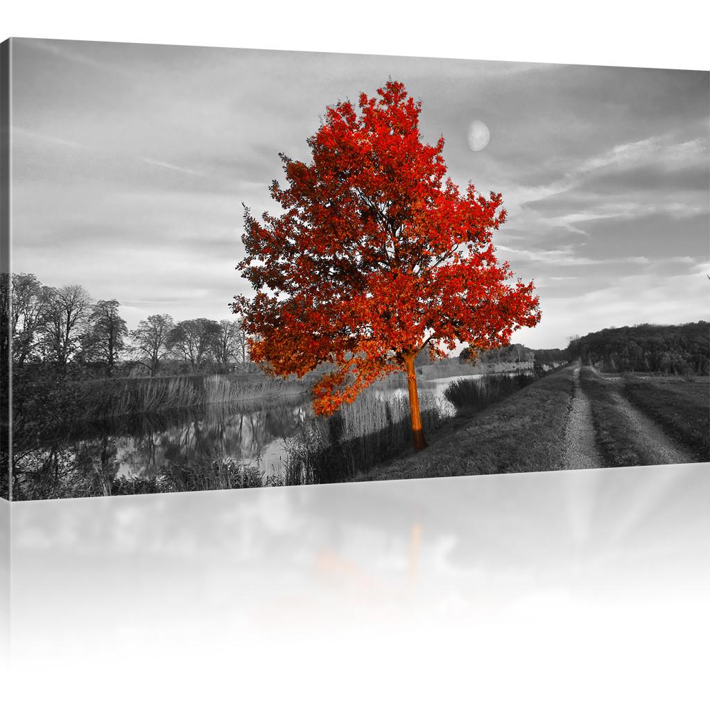 Immagini rosso albero dipinto a parete paesaggio su tela - Albero su parete ...