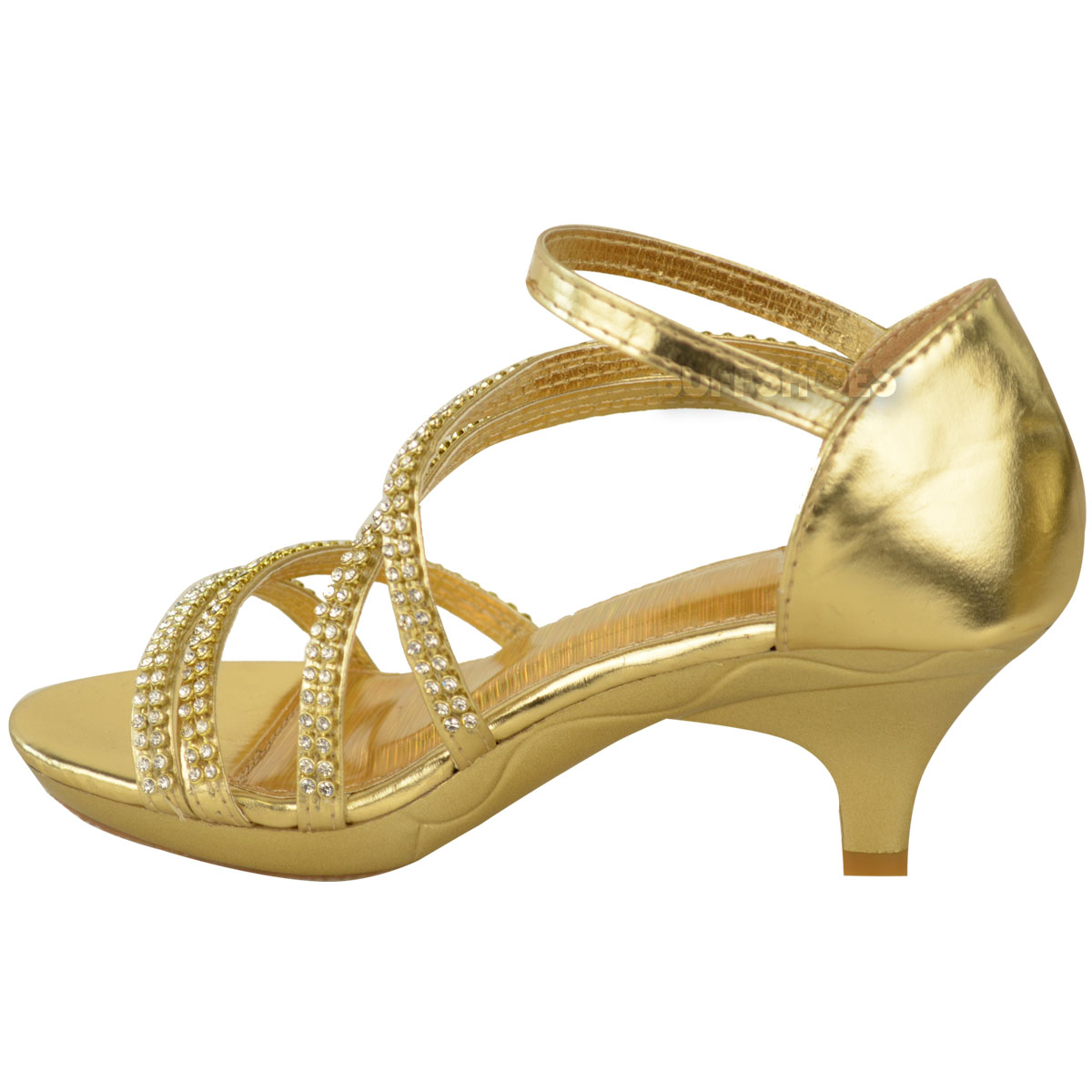 Niñas Niños Childrens Tacón Bajo Correa De Dama De Honor Fiesta Noche Diamante Zapatos Talla