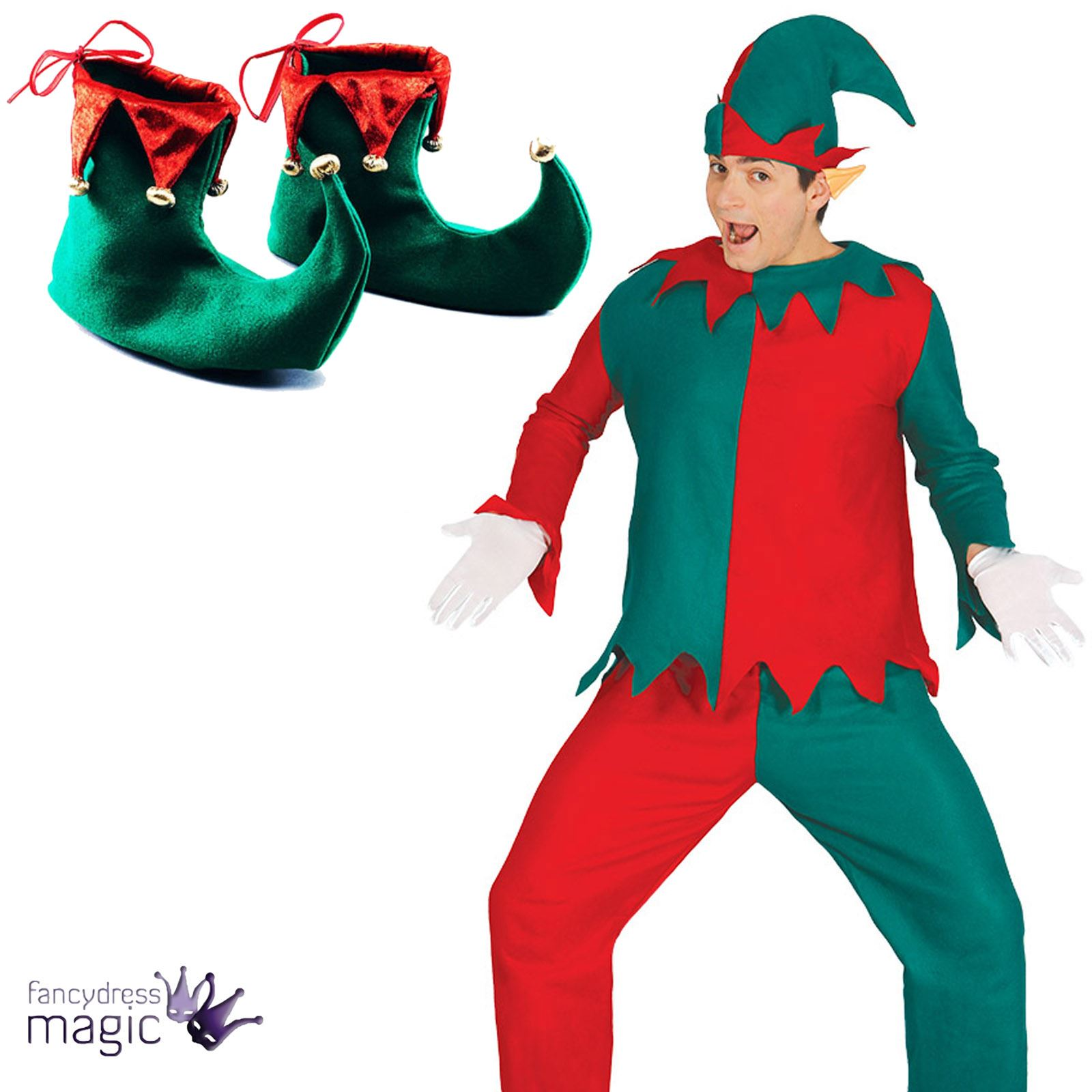 Hombre Adulto Navidad Elfo Ayudante de Santa Disfraz Zapatos OREJAS