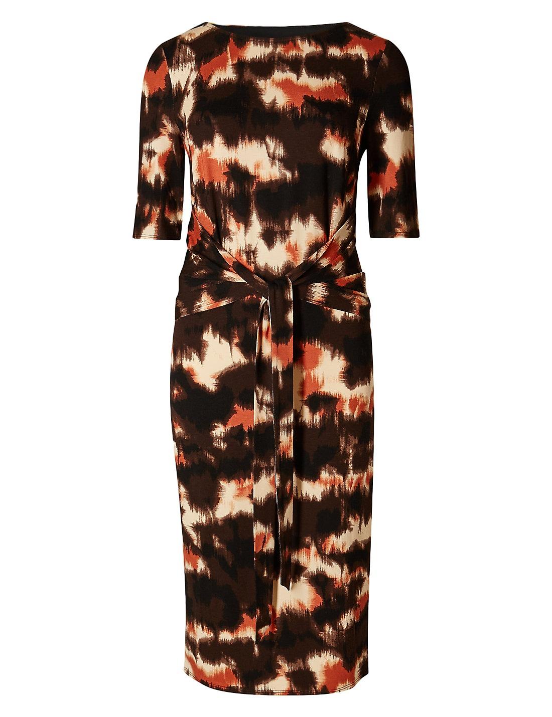 Marks-amp-Spencer-Coleccion-marron-Crema-amp-Negro-Estampado-Elastico-Vestido-Recto