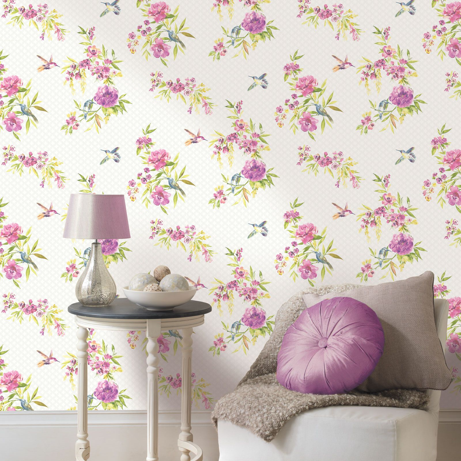 shabby chic floral wallpaper in various designs wall decor new ebay. Black Bedroom Furniture Sets. Home Design Ideas