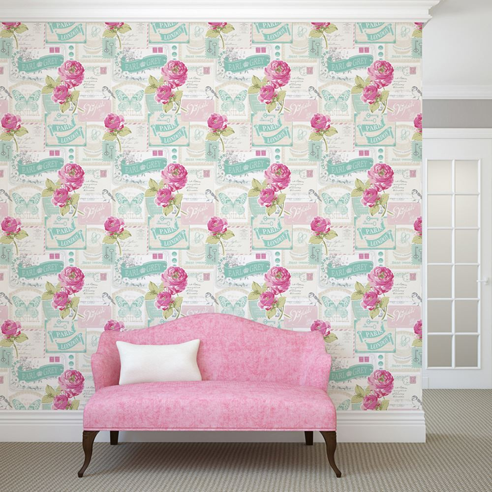 Shabby chic papier peint fleur diverses designs d coration murale neuf ebay - Papier peint shabby chic ...