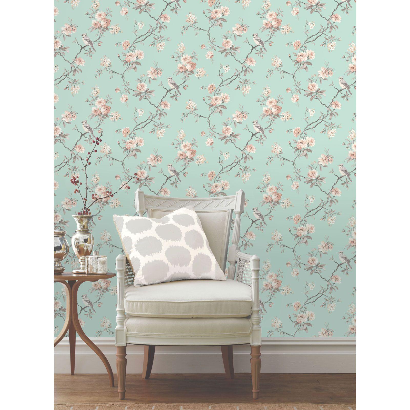 shabby chic blumen tapete in verschiedenen designs wand. Black Bedroom Furniture Sets. Home Design Ideas