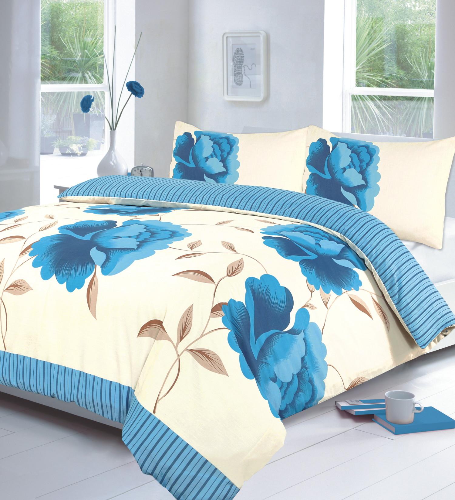 Rosaleen 4 pz stampato copripiumino floreale mantovana completo set da letto ebay - Mantovana letto ...