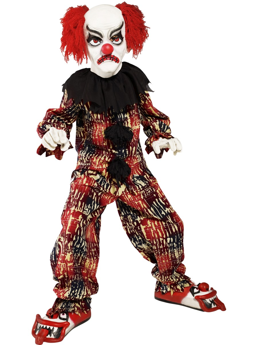 boys zombie scary clown costume evil jester horror halloween fancy