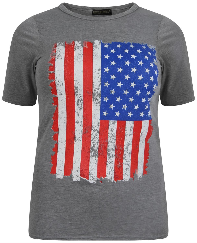 damen kurzarm grau union jack und amerikanische flagge aufdruck t shirt 12 26 ebay. Black Bedroom Furniture Sets. Home Design Ideas