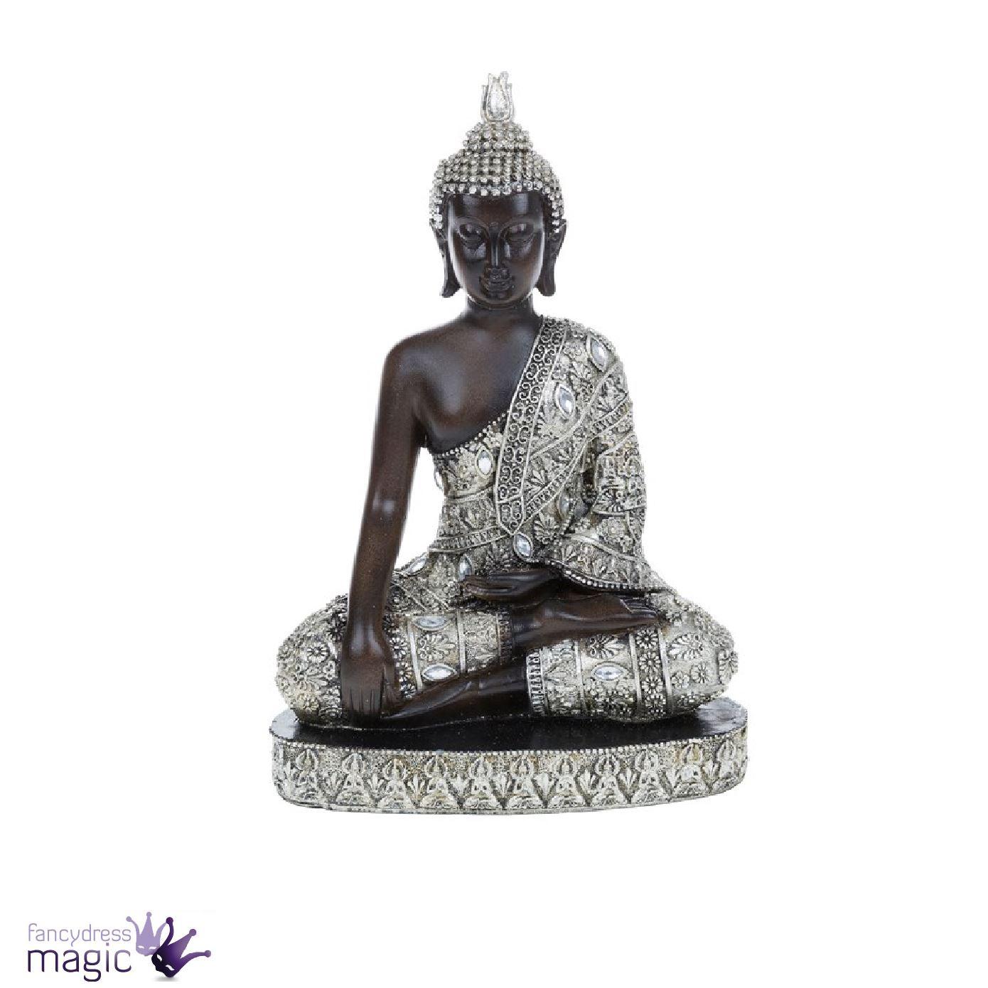 tha bouddha statue assis genoux debout feng shui argent figurine d coration ebay. Black Bedroom Furniture Sets. Home Design Ideas
