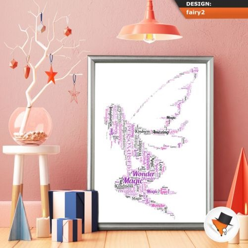 BEAUTIFUL FAIRY WORD ART A UNIQUE AND SPECIAL GIFT FOR BIRTHDAY OR XMAS