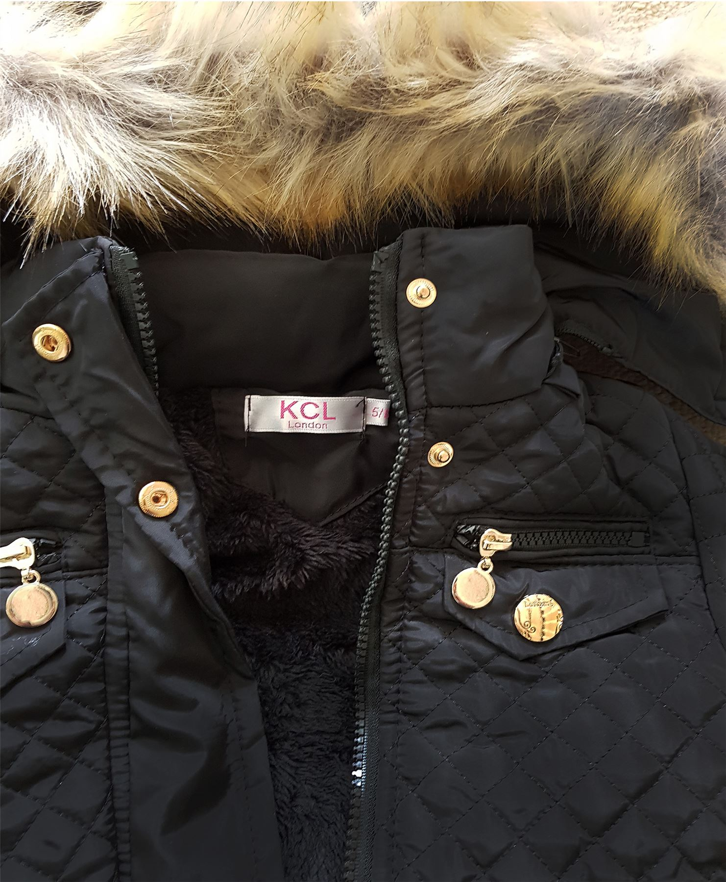 d39dcb682 Girls Quilted Winter Coat Kids Fur Lining Detach Hood Padded Jacket ...