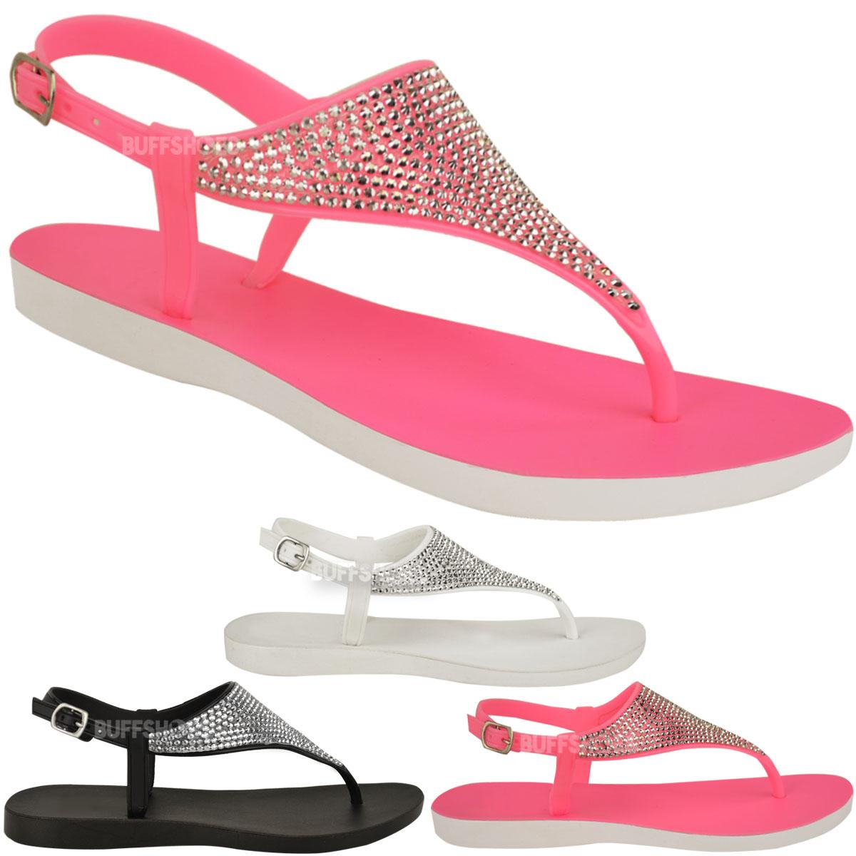 gelee strass sandalen damen flach zehentrenner strand. Black Bedroom Furniture Sets. Home Design Ideas