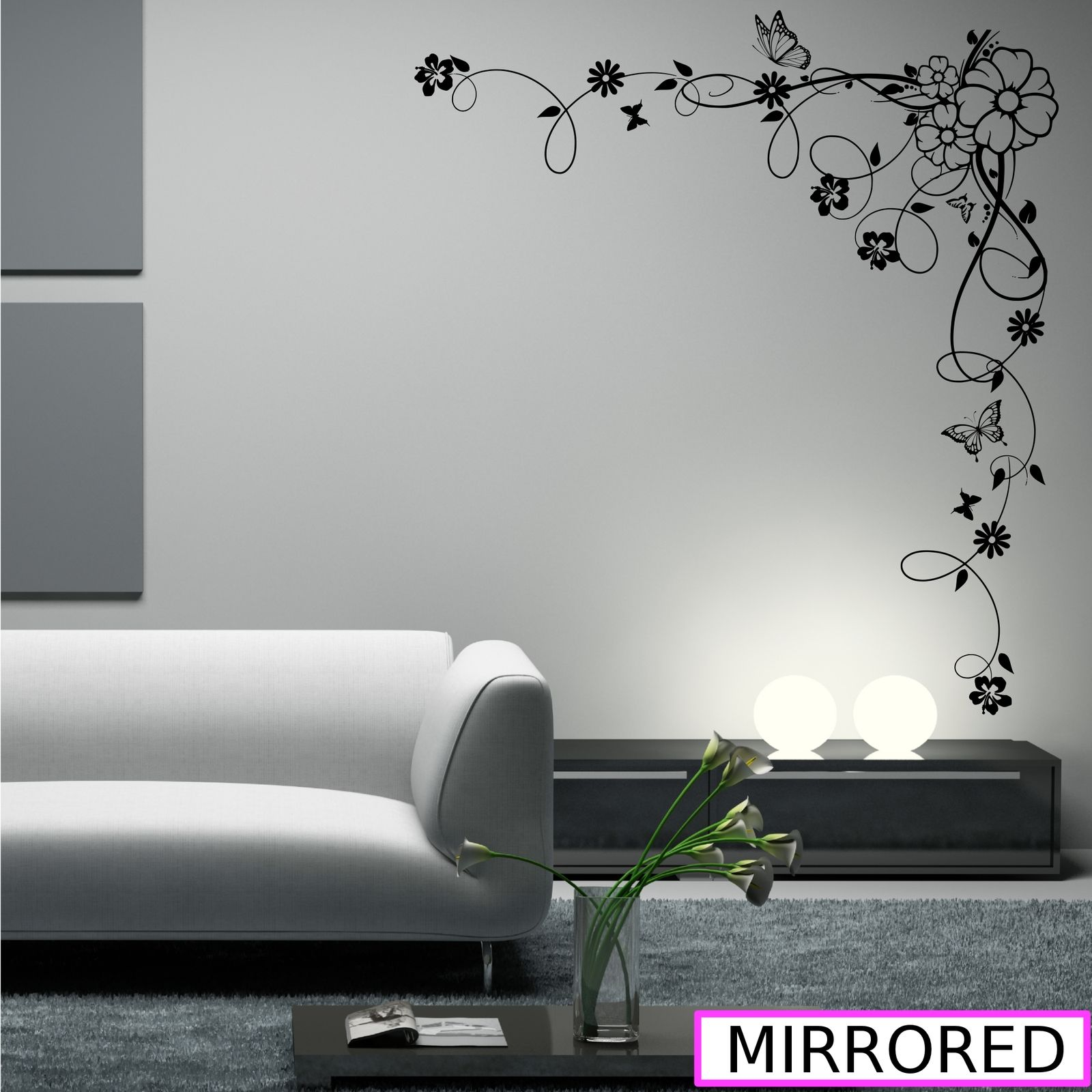 Corner Flower Vine Hibiscus Wall Art Sticker Vinyl Transfer Decal ...