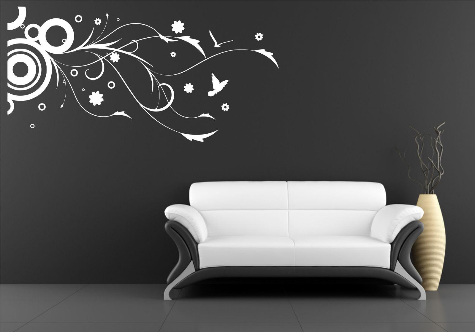 Circle birds flower floral wall art wall sticker decal for Custom vinyl mural prints