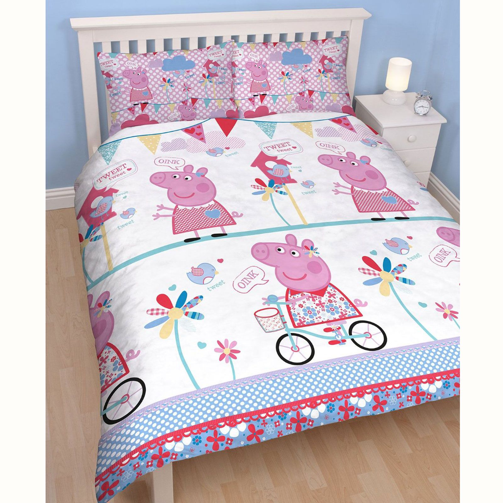 Peppa pig housse de couette ensembles junior simple for Housse de couette simple