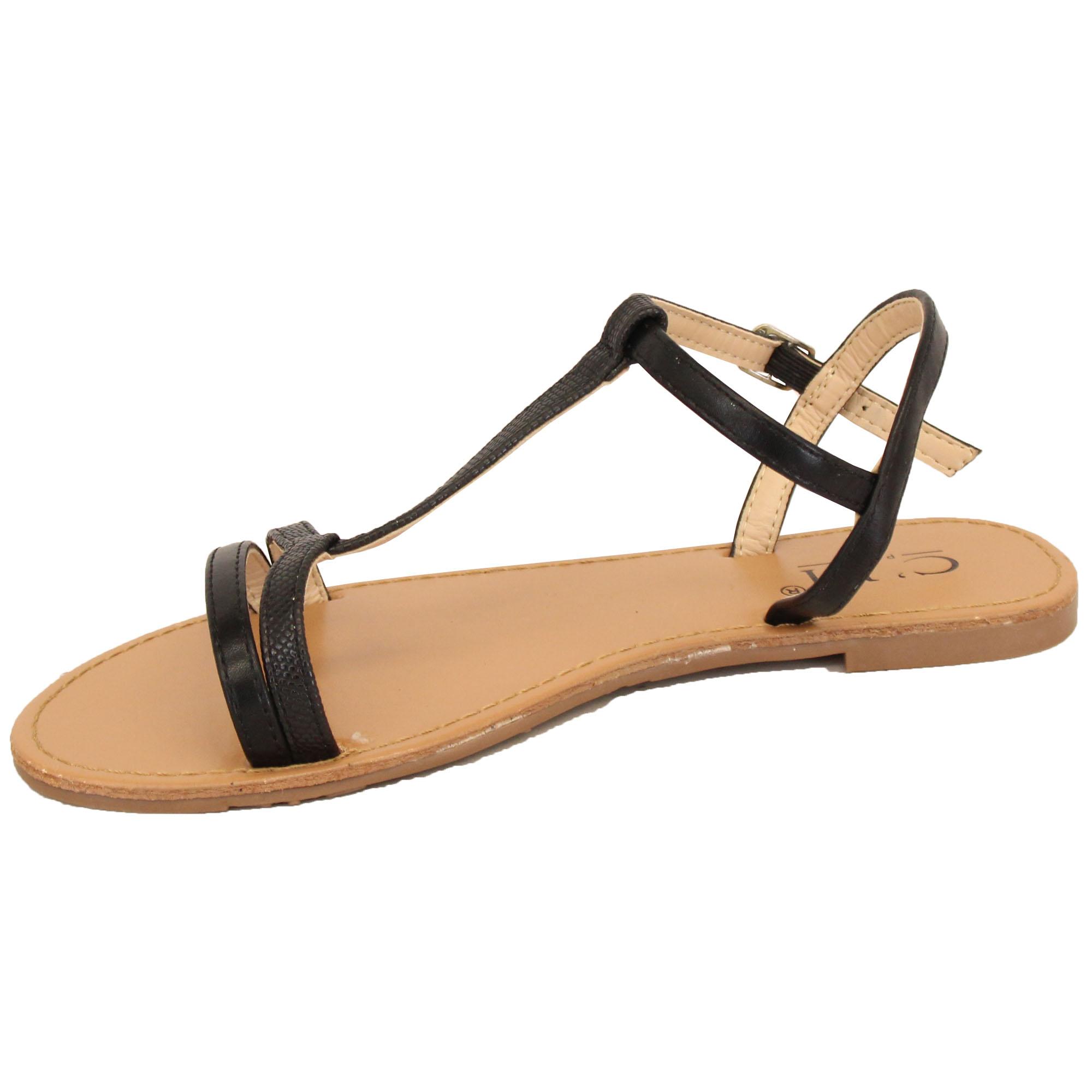 0342e6dcddad Ladies Flat Sandals Womens Open Toe Buckle Strap Shoes Summer ...