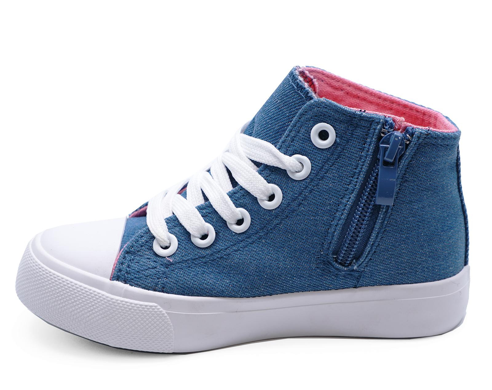 Ninos-Ninas-Lona-Azul-Tobillo-Zapatillas-Tipo-Botin-Botas-Zapatillas-3-2