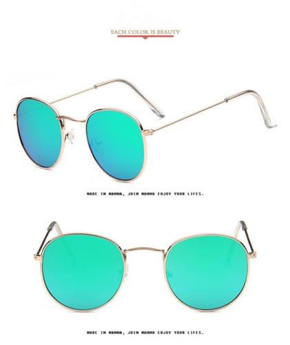 Moderno-Hombre-Mujer-Vintage-Gafas-de-Sol-Redondas-Montura-Metalica-Retro-Espejo