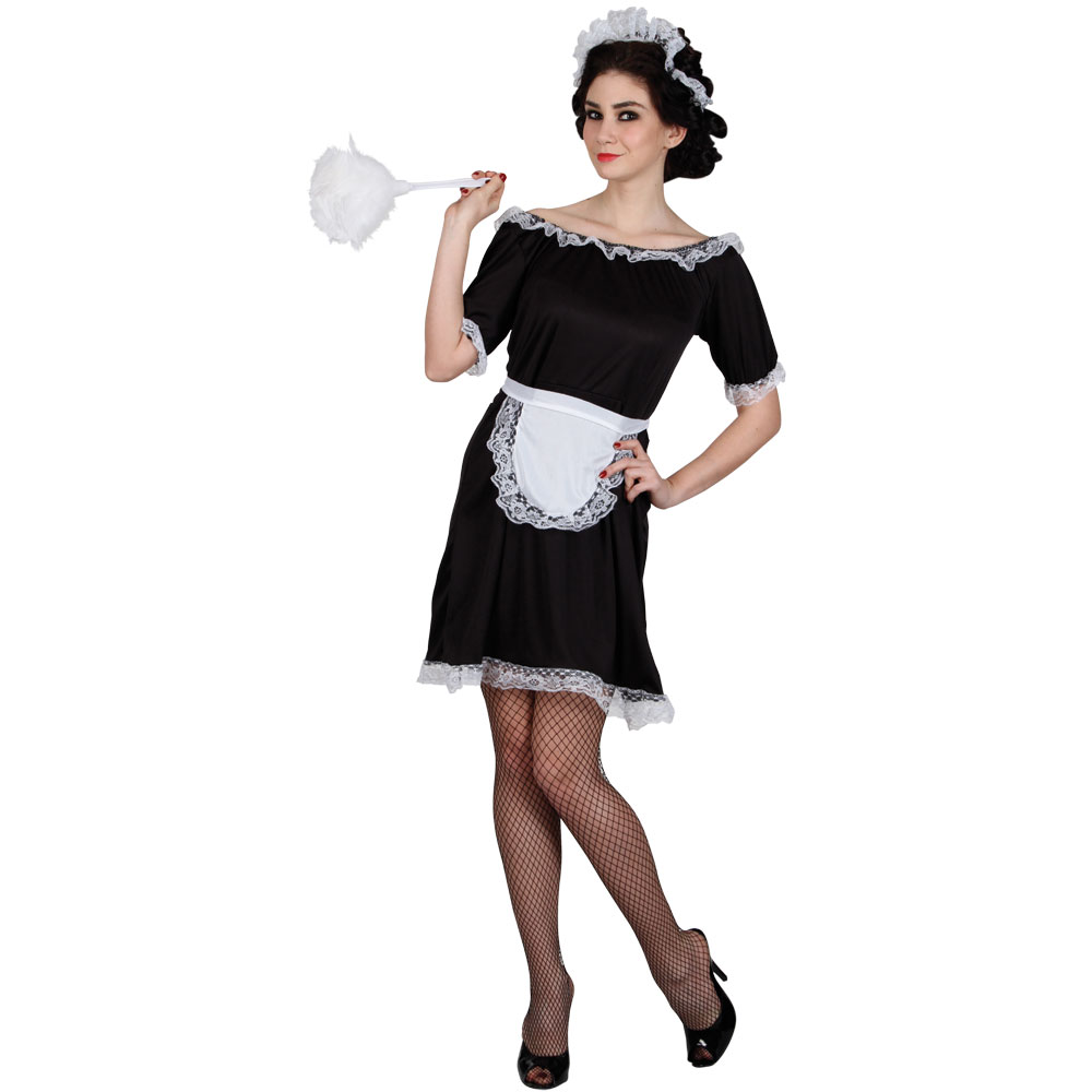 French Maid Costume Black White Waitress Fancy Dress Outfit Sizes ...