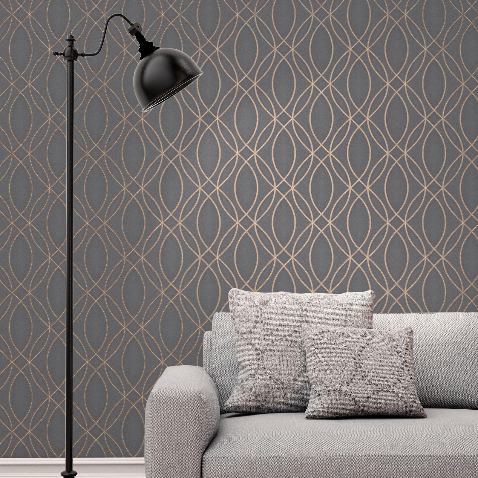 geometrische welle tapete metallic glitzer rotgold silbergrau schwarz ebay. Black Bedroom Furniture Sets. Home Design Ideas