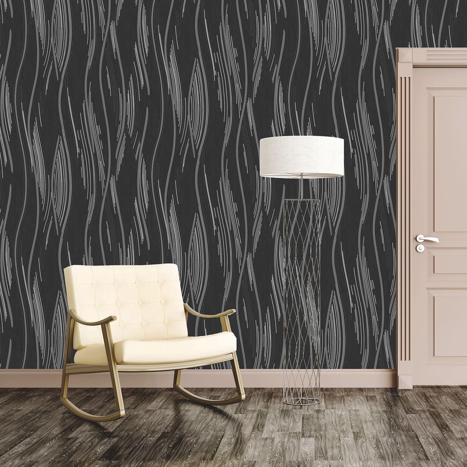 geometrisch welle tapete matt metallische glitzern. Black Bedroom Furniture Sets. Home Design Ideas