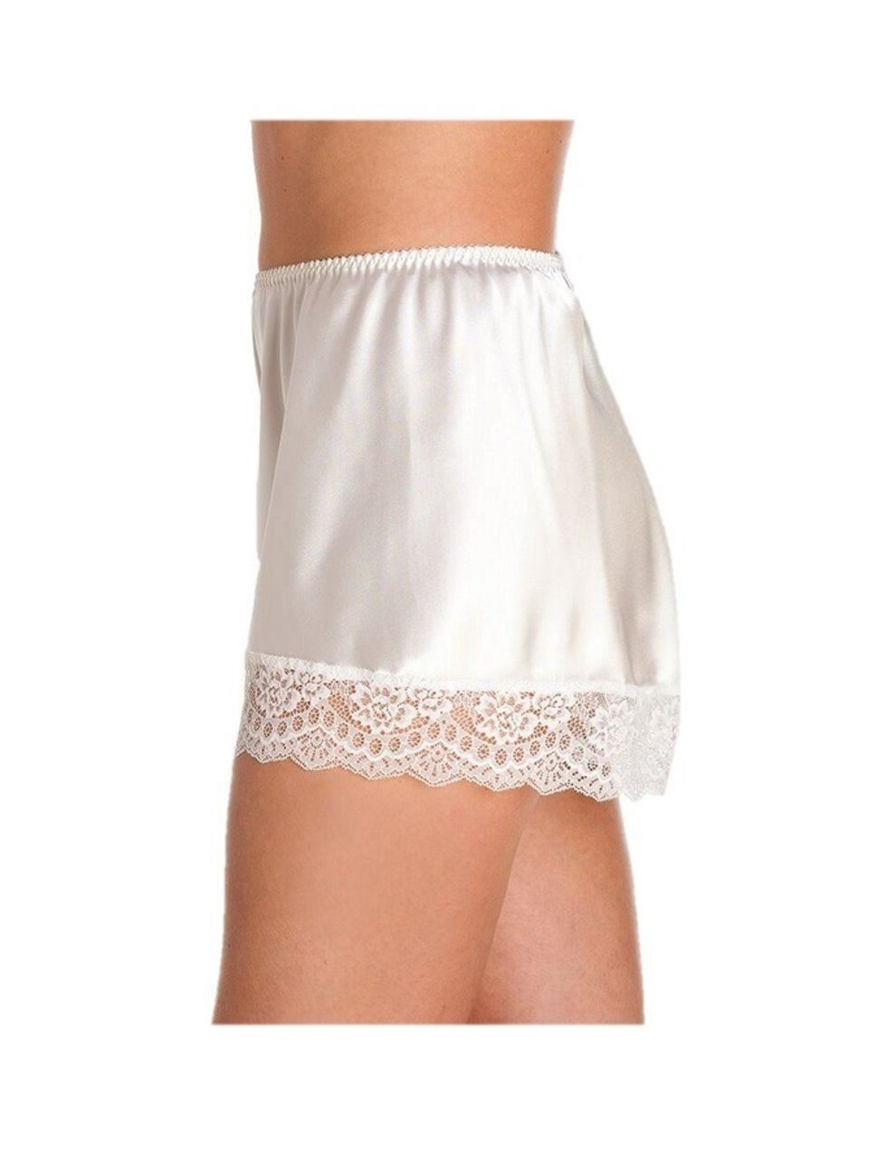 British Made Retro Satin Lace Detail Silky french knicker Short briefs