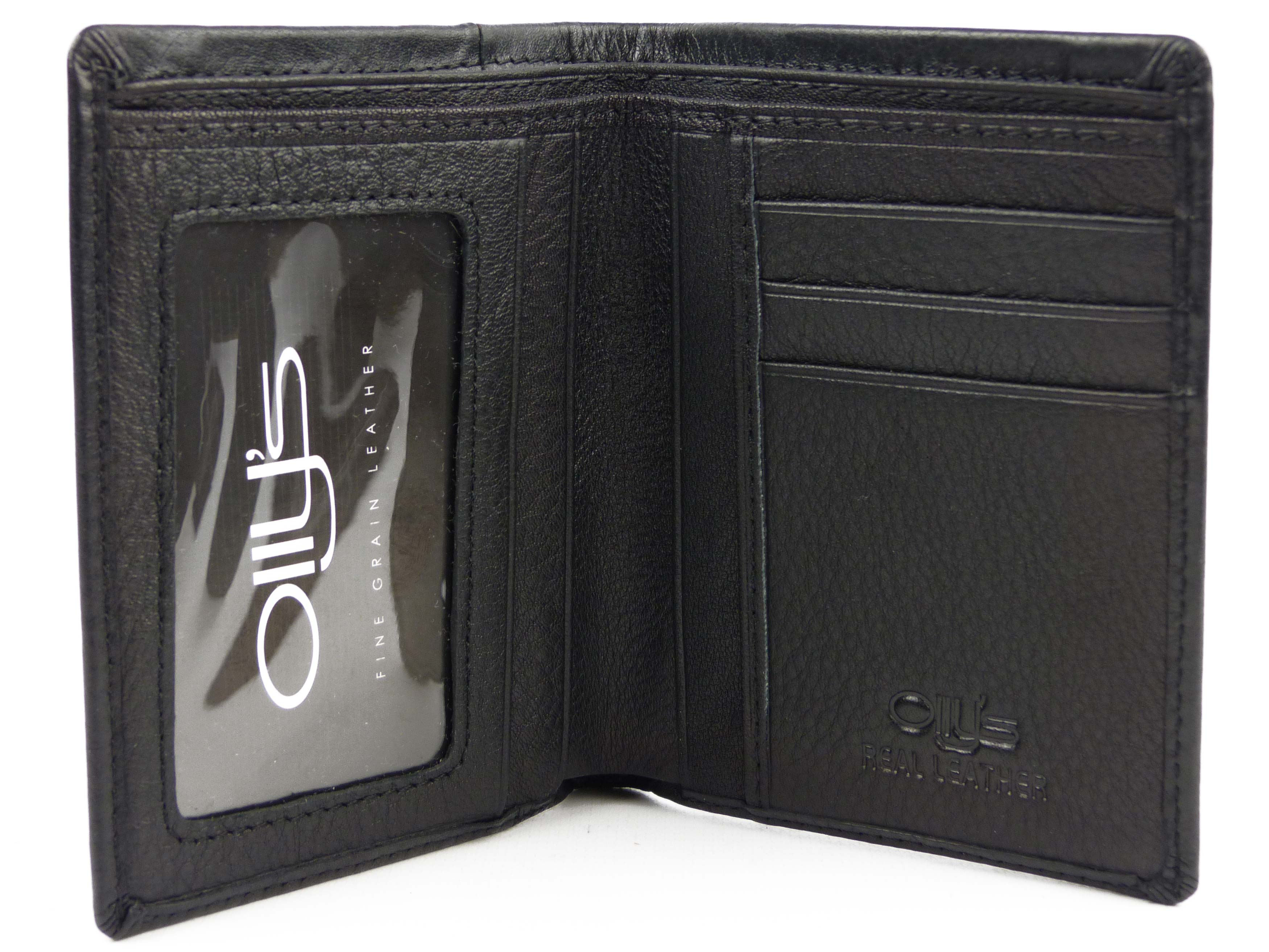 thumbnail 3 - Mens-Fine-Grain-Leather-Slim-Bi-Fold-Wallet-by-Ollys-Bobby-Collection-Gift-Boxe