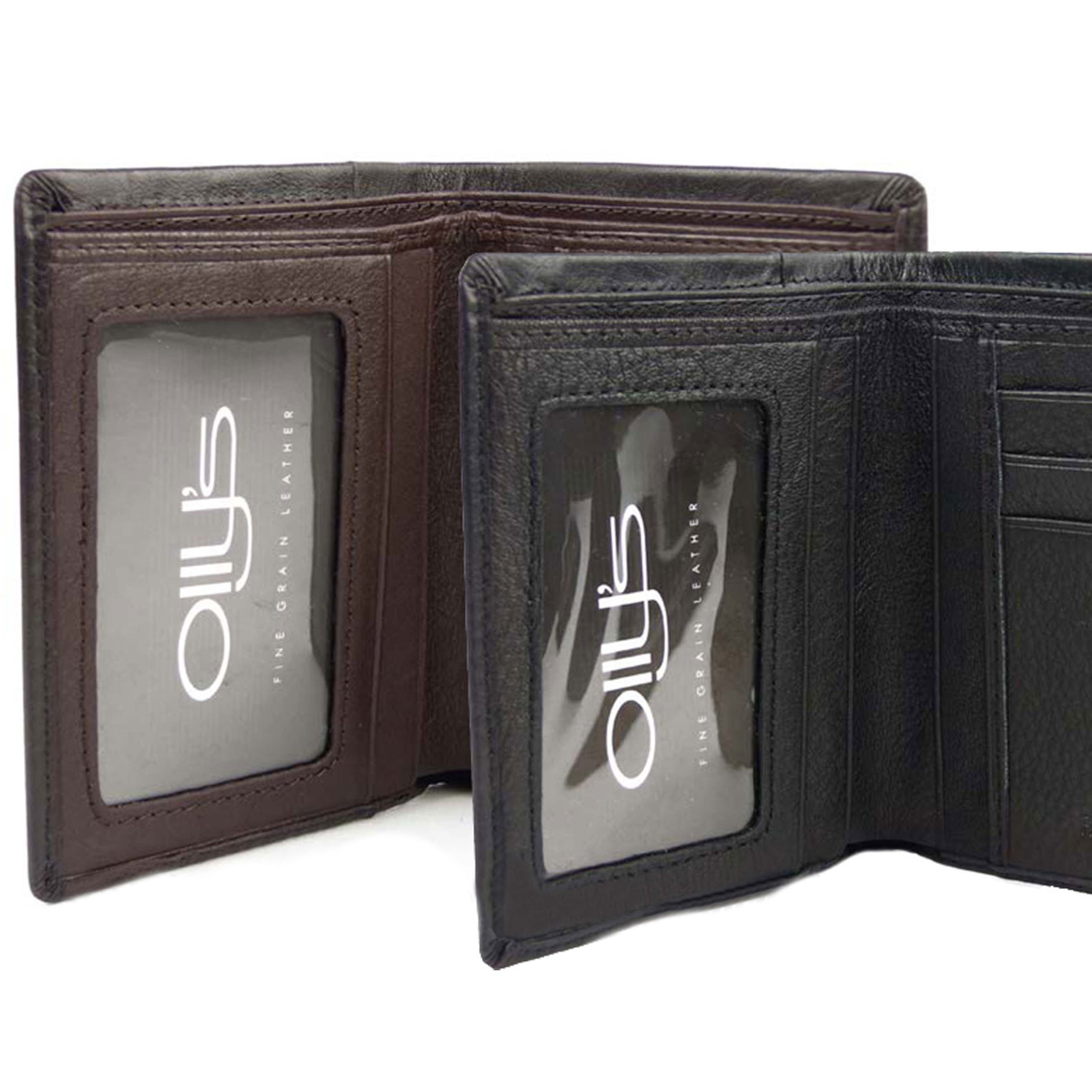 thumbnail 4 - Mens-Fine-Grain-Leather-Slim-Bi-Fold-Wallet-by-Ollys-Bobby-Collection-Gift-Boxe