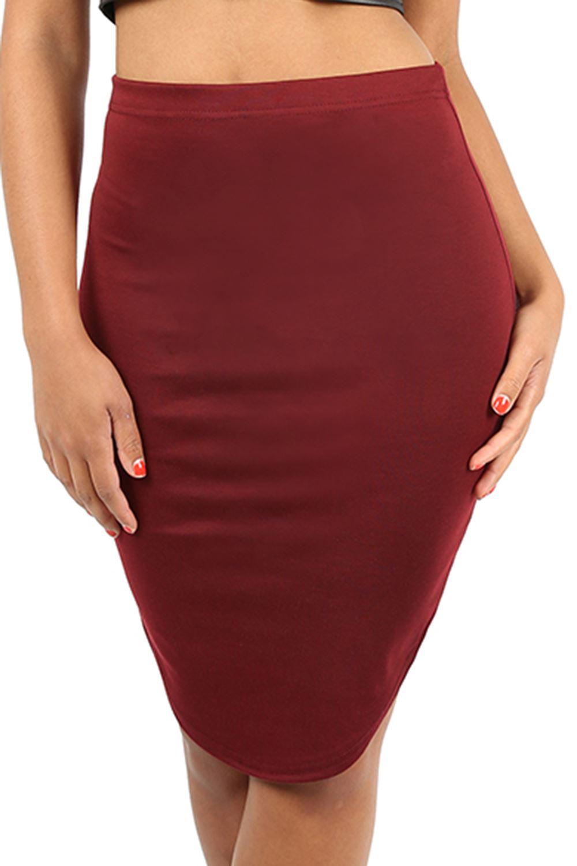 Womens Ladies Knee Length Curved Hem Pencil Bodycon Plus Sizes ...