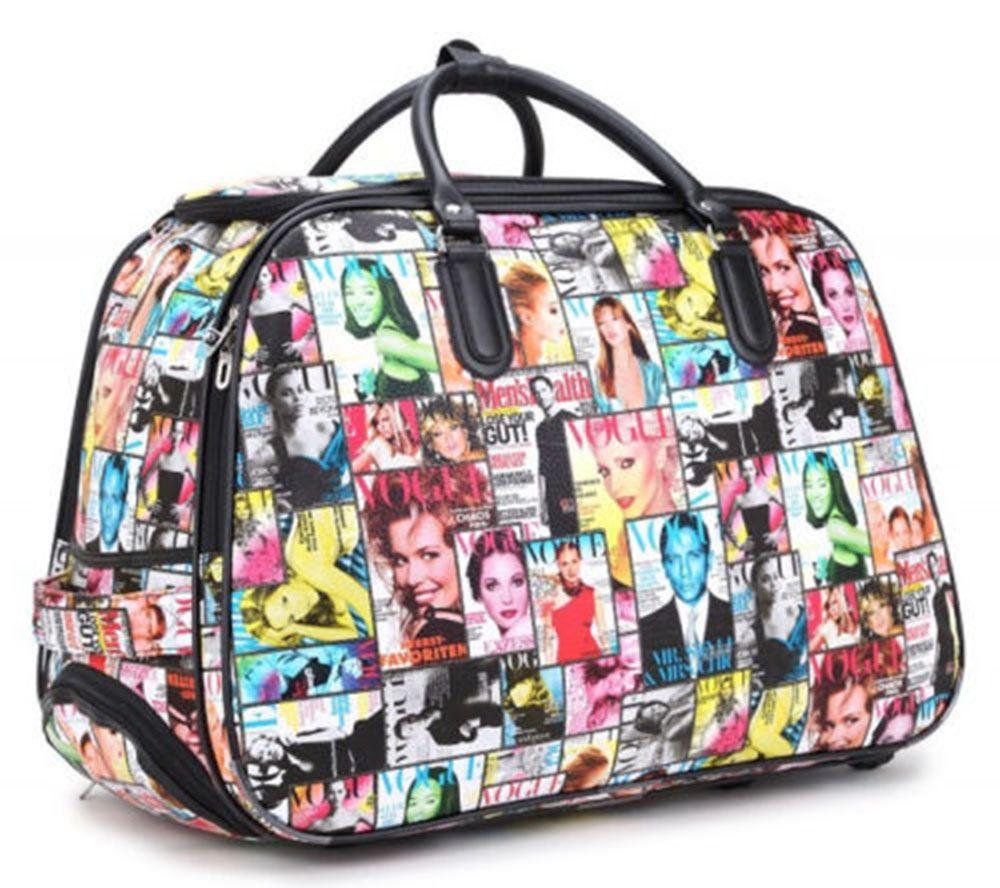 Nouveau voyage bagages Imprimé Sac à roulettes Holdall Léger Fashion Valise UK