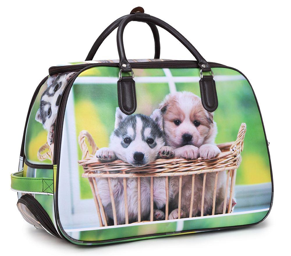 neu bedruckt gro reisetasche mit rollen koffer griff wochenende gep ck tasche ebay. Black Bedroom Furniture Sets. Home Design Ideas