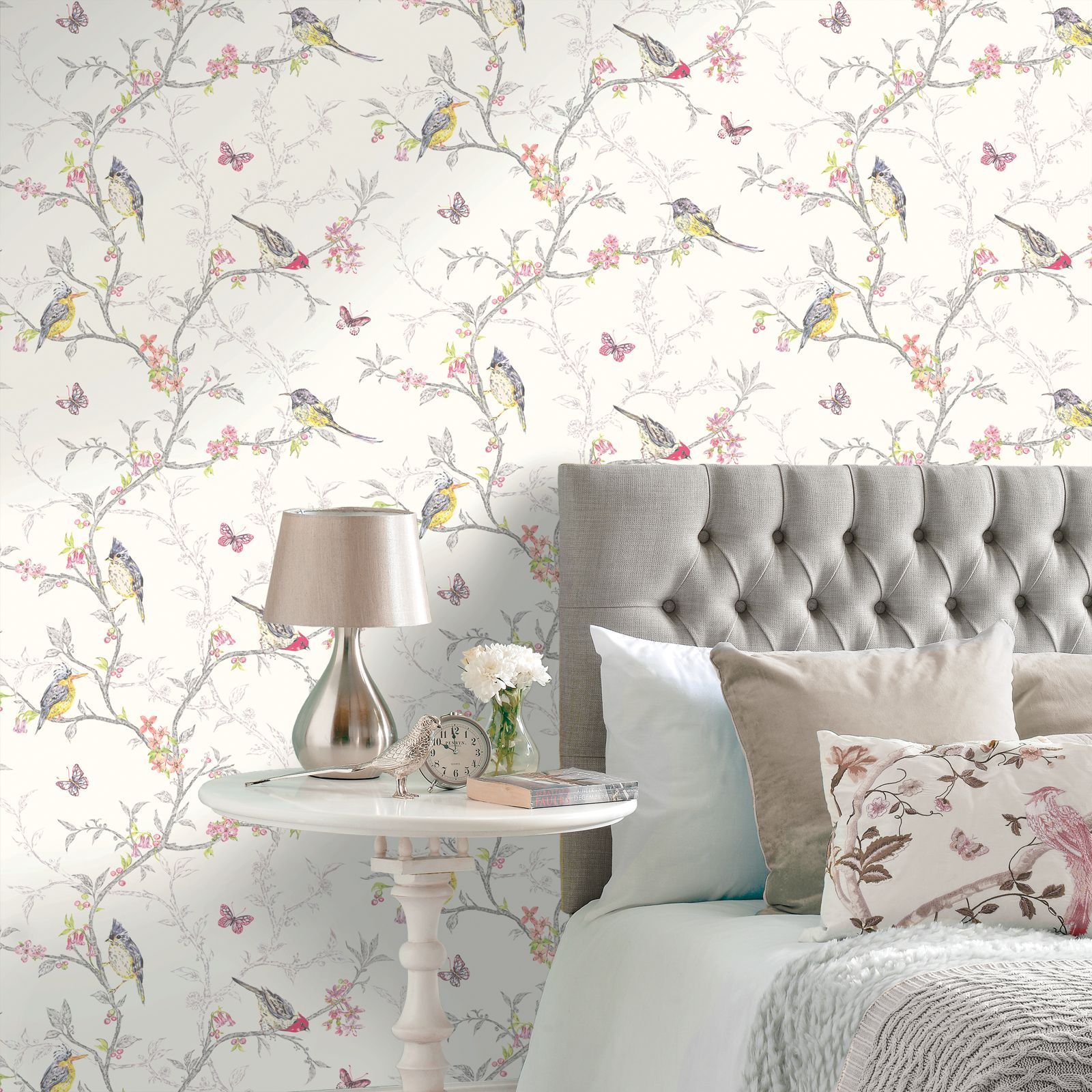 HOLDEN PHOEBE BIRDS WALLPAPER ROOM DECOR - CREAM, GREY, WHITE, TEAL ...