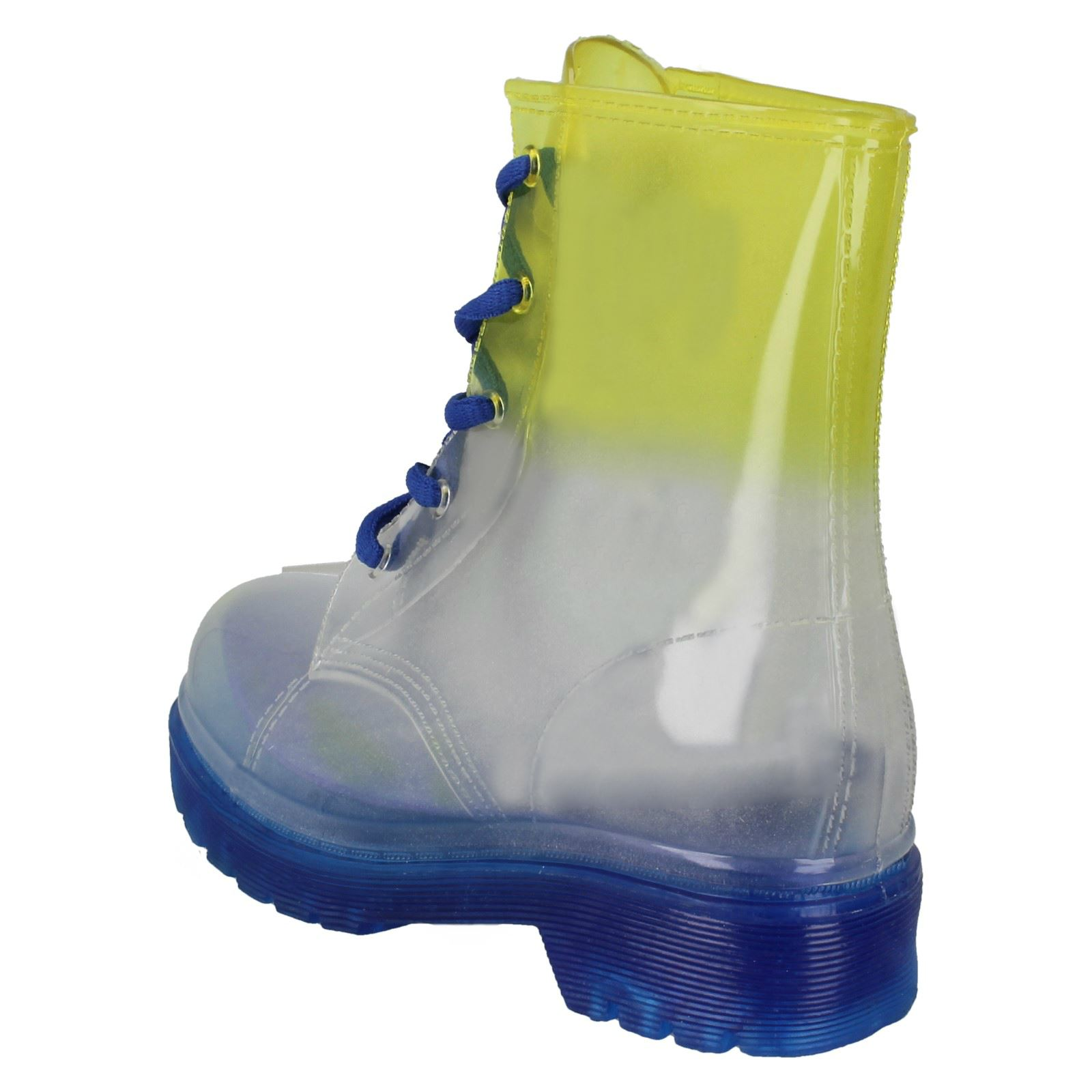 Girls Spot On Transparent Lace Up Welly Boot