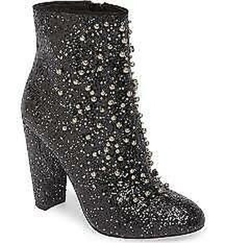 Jessica Simpson Starlite Black Glitter Pearl Embellished Block Heel Bootie