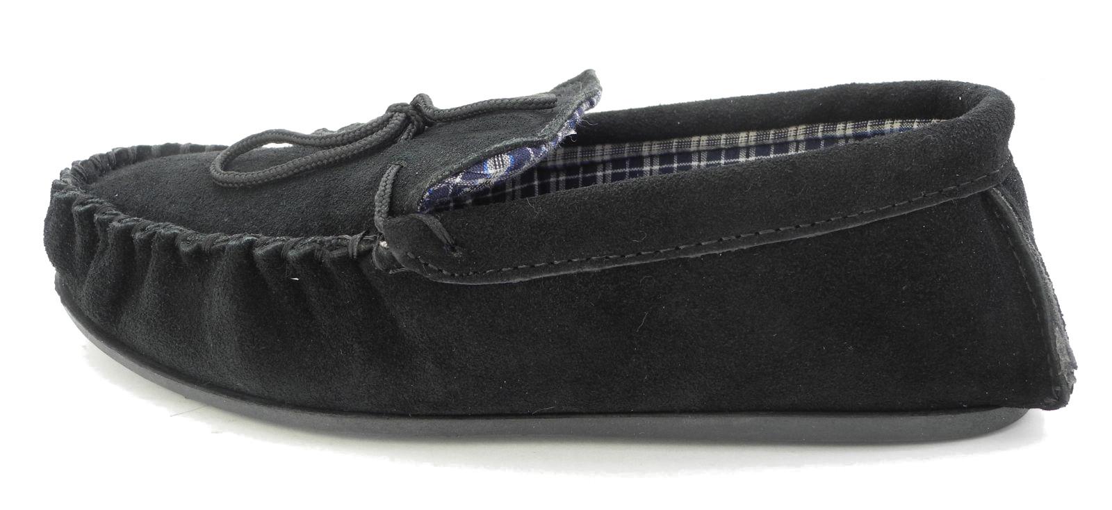 Hombre-mokkers-cuero-ante-real-Zapatillas-Mocasin-negro-marron-azul-Talla-6-15