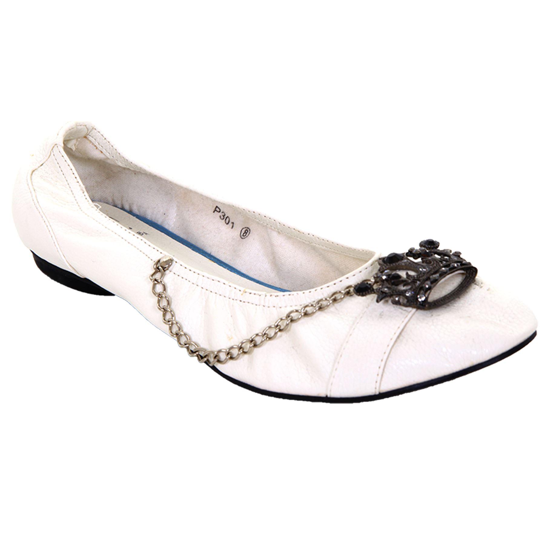 Damen Kunstleder Ohne Bügel Mit juwelen besetzt Krone Kette weiß Schuhe Flache
