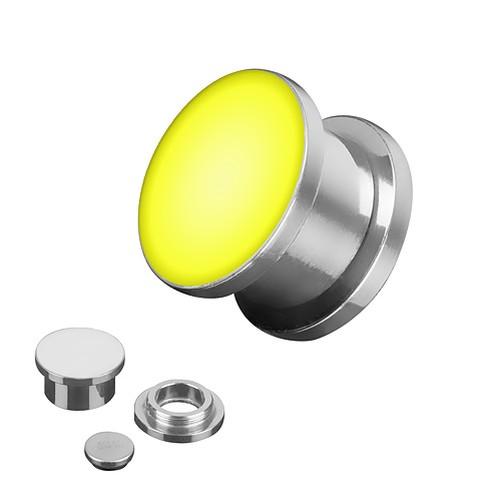 Flesh-orecchio-piercing-TUNNEL-PLUG-ARGENTO-LUCE-LED-Colorato-Brillante-incl