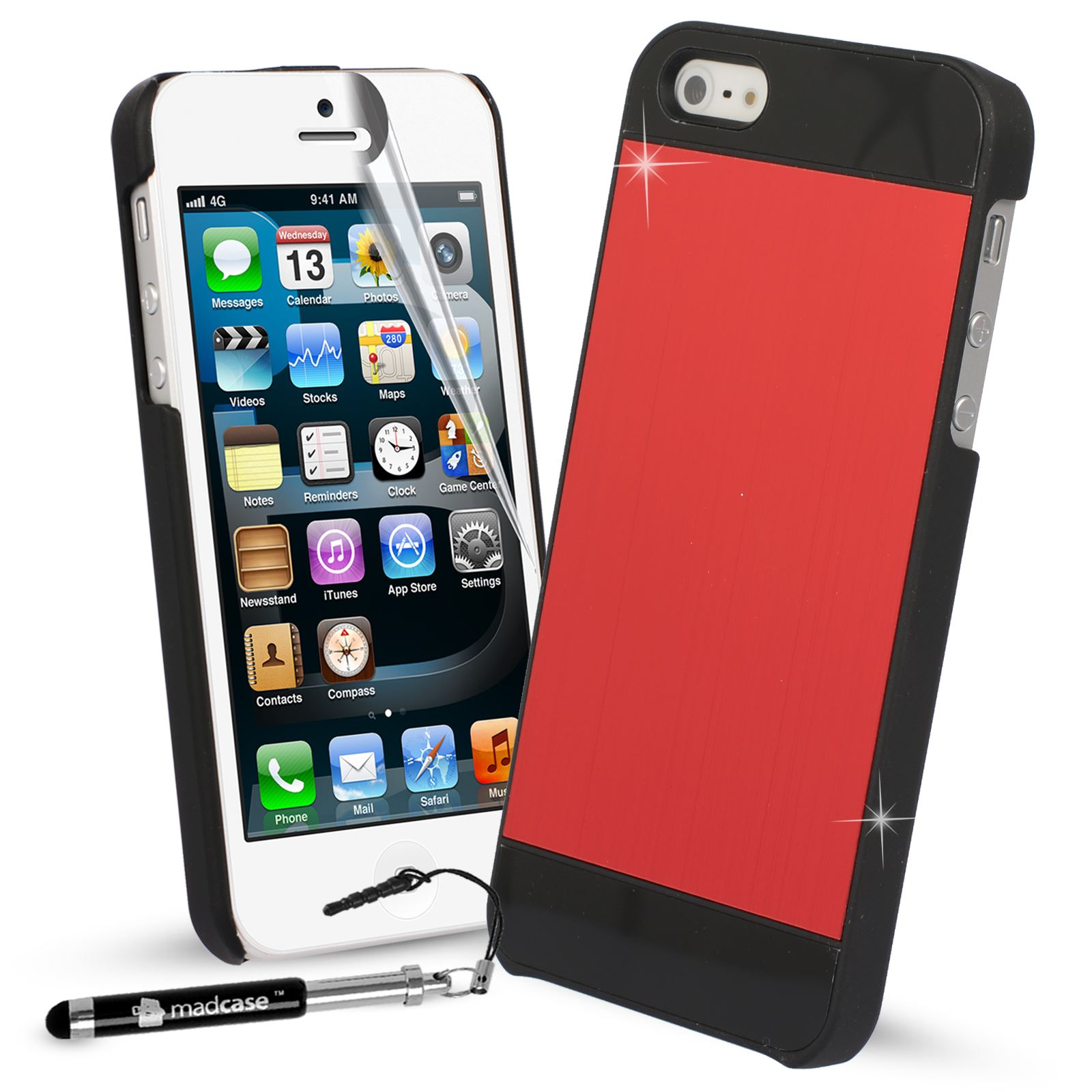 para-Apple-iPhone-SE-5-5s-Funda-Cepillado-Metal-Aluminio-Carcasa-Rigida-Funda