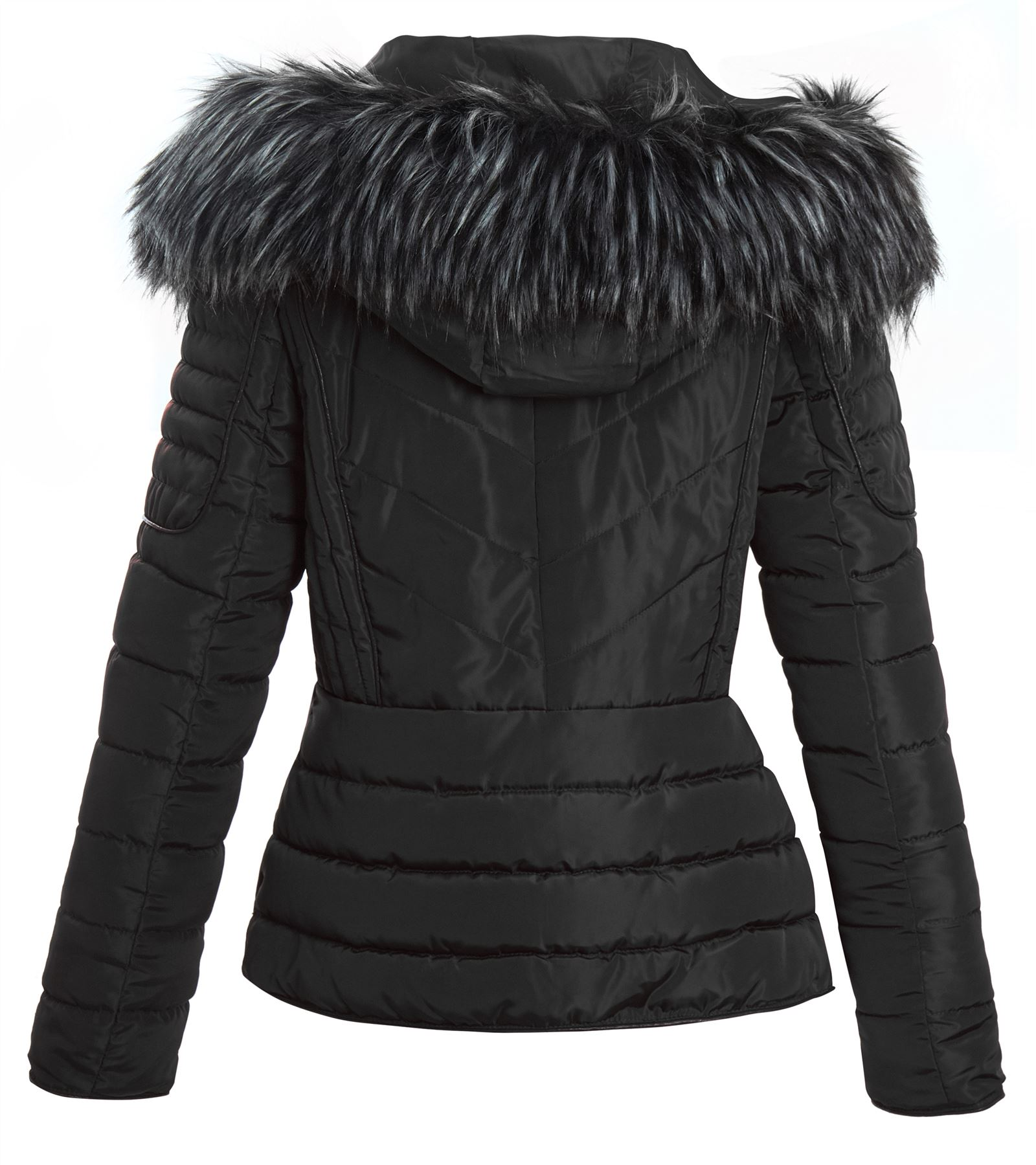 Fur Coat Jacket Quilted Hooded Dame Shelikes Faux UwqnAf